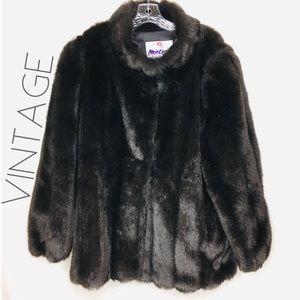 Vintage Monterey faux mink fur coat 1X 2X 18W 0463